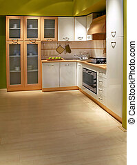 Kitchen cabinet - Modern wooden kitchen counter with big...