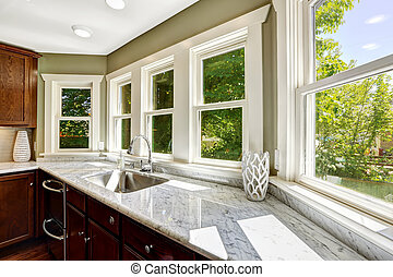 Kitchen cabinet with marble top and sink - Beautiful kitchen...
