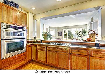 Kitchen cabinets in modern house - Wooden kitchen cabinets...