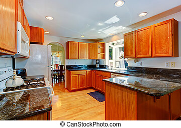 Kitchen cabinets with black granite tops
