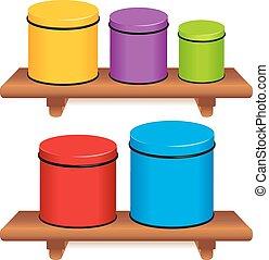 Kitchen Canister Set. Five multi color food storage...