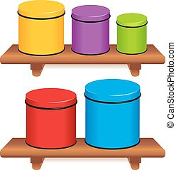 Kitchen Canister Set. Five multi color food storage...