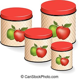 Kitchen Canisters Set with apples