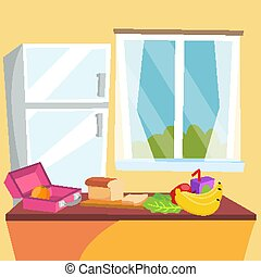 Kitchen Cartoon Vector. Classic Home Dining Room. Kitchen Interior Design. Dining Table, Fruits, Refrigerator. Flat Illustration