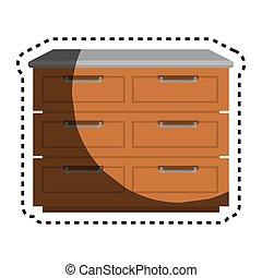 Kitchen chest of drawers vector illustration design