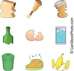 Kitchen cleaning icon set, cartoon style