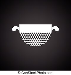 Kitchen colander icon. Black background with white. Vector...