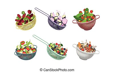 Kitchen Colanders or Strainers with Vegetables and Berries ...