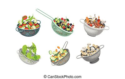 Kitchen Colanders or Strainers with Vegetables and Greenery ...