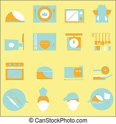 Kitchen color icons on yellow background