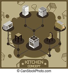 Kitchen color isometric concept icons set