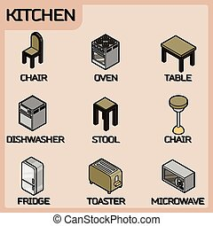 Kitchen color outline isometric icons set