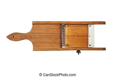 Vintage wooden slicer isolated on white background