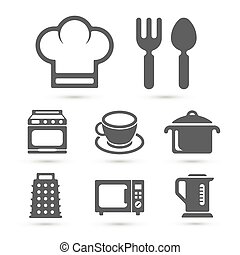 Kitchen cooking icons isolated on white. Vector