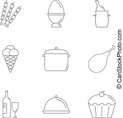 Kitchen cooking icons set, outline style