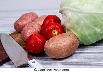 Kitchen, cooking, potato, knife, cutting board