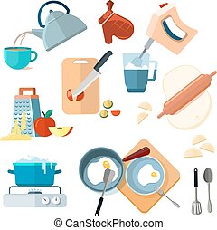 Kitchen cooking processes, grated vegetables, mixer, fried, dough, boil, grinding