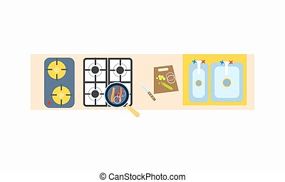 Kitchen Cooking Surface Icon Vector Illustration