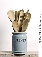 Kitchen cooking utensils; wooden spatulas etc in china...