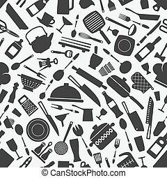 kitchen cookware monochrome seamless pattern