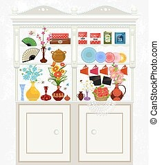 kitchen cupboard with cute flowers for your design