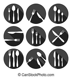 Kitchen Cutlery Icons Set Monochrome Series