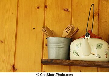 Kitchen decoration on brick wall vintage style
