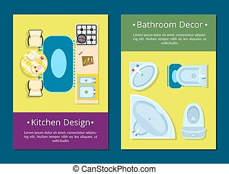 Kitchen Design, Bathroom Decor Vector Illustration