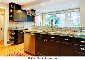 Kitchen design. Black wood cabinets, marble counter top -...