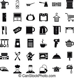 Kitchen dinner icons set, simple style