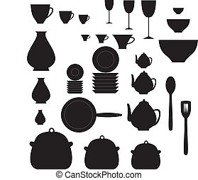 Kitchen dishes - black and white kitchen dishes