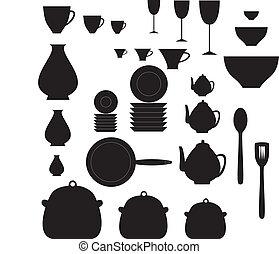 Kitchen dishes - black and white kitchen dishes
