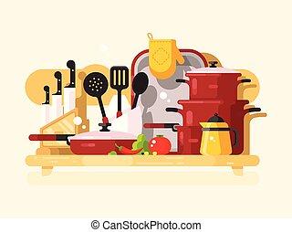 Kitchen dishes design flat