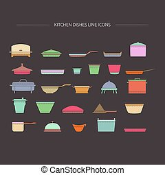 Kitchen dishes line icons.