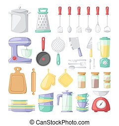 Kitchen dishes vector flat icons isolated on white ...
