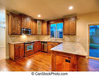 kitchen., donker, cherry.