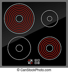 Kitchen Electric hob with ceramic surface and touch control...