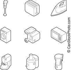 Kitchen electronic appliances icons set