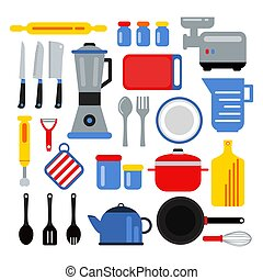 Kitchen equipment for cooking. Vector illustrations set in flat style