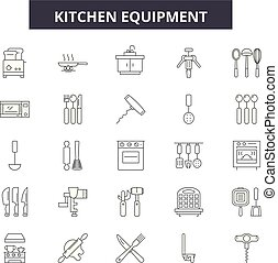 Kitchen equipment line icons, signs set, vector. Kitchen equipment outline concept, illustration: kitchen,equipment,cooking,food,household,oven