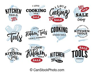 Kitchen Equipment Sale Logos Set