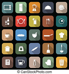 Kitchen flat icons with long shadow, stock vector