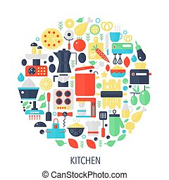 Kitchen flat infographics icons in circle - color concept illustration for Kitchen cover, emblem, template.