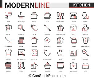 Kitchen flat line icon vector illustration set, with glass dishware, equipment tools for cooking food and household appliances mobile app symbols collection