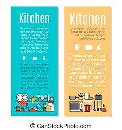 Kitchen flyers in cartoon style