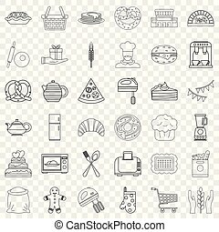 Kitchen food icons set, outline style
