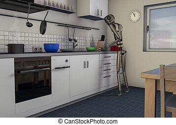 Kitchen food prozessor robot