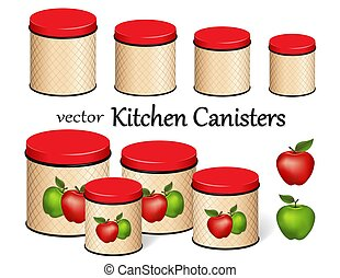 Kitchen Food Storage Canister Set, Red and Green Apples, lattice background design, four sizes