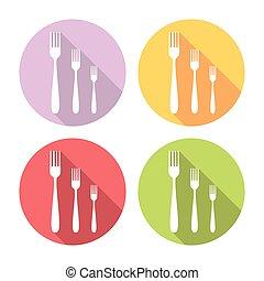 Kitchen Fork Flat Icons Set