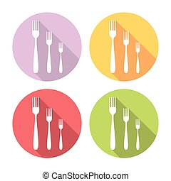 Kitchen Fork Flat Icons Set